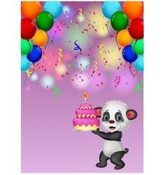 Panda holding birthday cake vector image