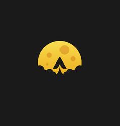 paper moon flat design template vector image