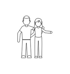 people member family line style vector image