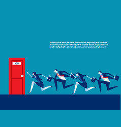 People running to job door concept business vector