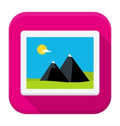 Photo image flat app icon with long shadow vector image