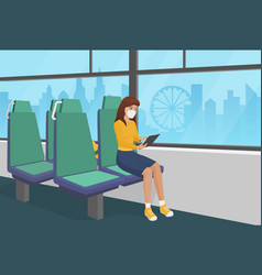 Pretty girl in surgical mask goes bus vector