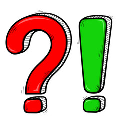 Question and exlamation marks red and green hand vector