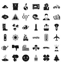 Radioactive icons set simple style vector