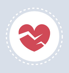 red heartbreak broken heart icon healthcare vector image