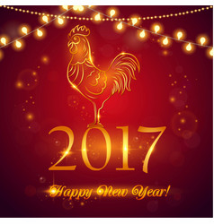 red rooster symbol 2017 on chinese vector image