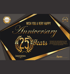 retro vintage anniversary background 25 years vector image