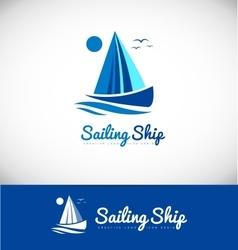 Sailing boat ship yacht yachting logo icon design vector