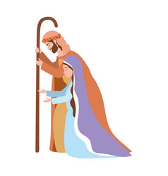 Saint joseph and mary virgin manger characters vector