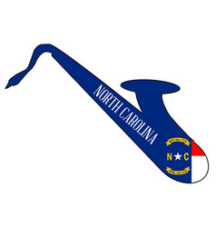 saxophone silhouette with north carolina flag vector image