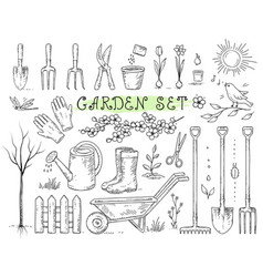Set of isolated garden tools vector