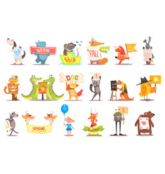 set of wild animals and domestic pets with various vector image