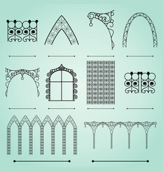 Silhouettes arches fences and windows vector
