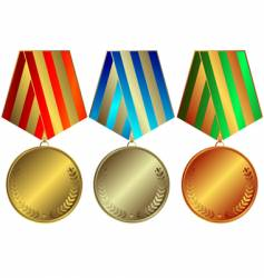 silvery gold and bronze medals vector image vector image