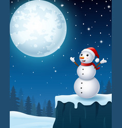 snowman christmas in the winter night background vector image