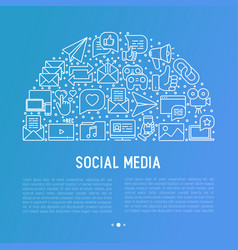 social media concept in half circle vector image