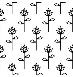 stylized line flower seamless pattern vector image