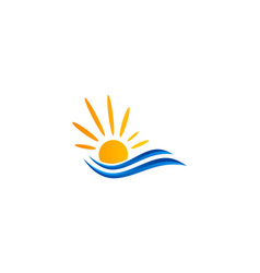 sunshine water ocean logo vector image