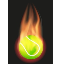 Tennis ball with flame vector image