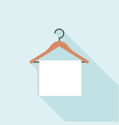 towel hanging on wooden hanger vector image
