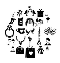 Valentine day icons set simple style vector