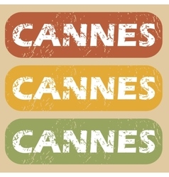 Vintage cannes stamp set vector