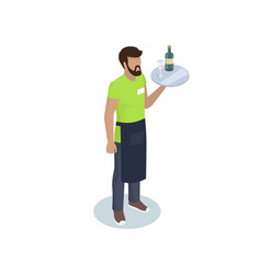 Waiter man with tray 3d icon vector