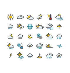 Weather filled outline icon set vector
