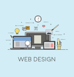 web and mobile design process of design vector image