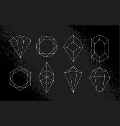 white hand-drawn crystals set vector image