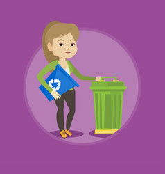 woman with recycle bin and trash can vector image