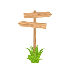 Wooden signboard for guidepost grass vector image