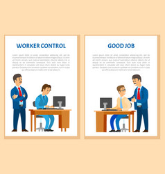 Worker control praise for good job company leader vector