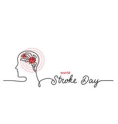 world stroke day simple line border web banner vector image