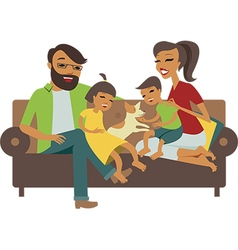 Young family vector