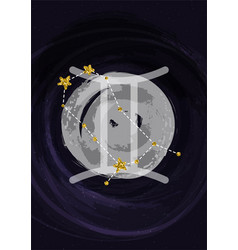 Zodiac gemini sign a4 print poster with vector