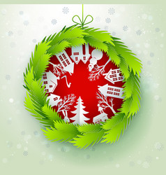 christmas decorated paper wreath vector image vector image