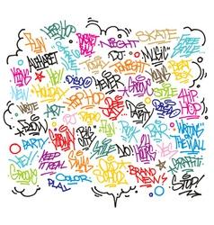 Multiple urban art and graffiti tags slogans vector image