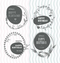 Set of floral stamps birthday vector image vector image