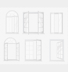 set of realistic windows isolated on the vector image vector image