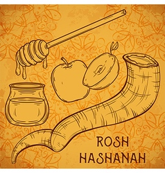 traditional symbols of rosh hashanah vector image vector image