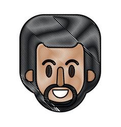 drawing face afro man cartoon vector image vector image