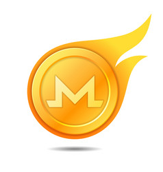 flaming monero coin symbol icon sign emblem vector image vector image