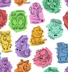 Funny Seamless Pattern of Sketch Zodiac Signs vector image vector image