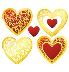 heart floral golden vector image vector image