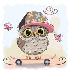cute owl on a skateboard vector image