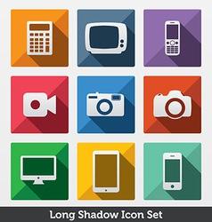 Digital Long Shadow Icons vector image