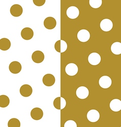 Gold and white polka dots pattern and texture set vector image