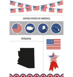 map of arizona set of flat design icons vector image vector image