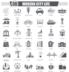 Modern city black icon set Dark grey vector image vector image